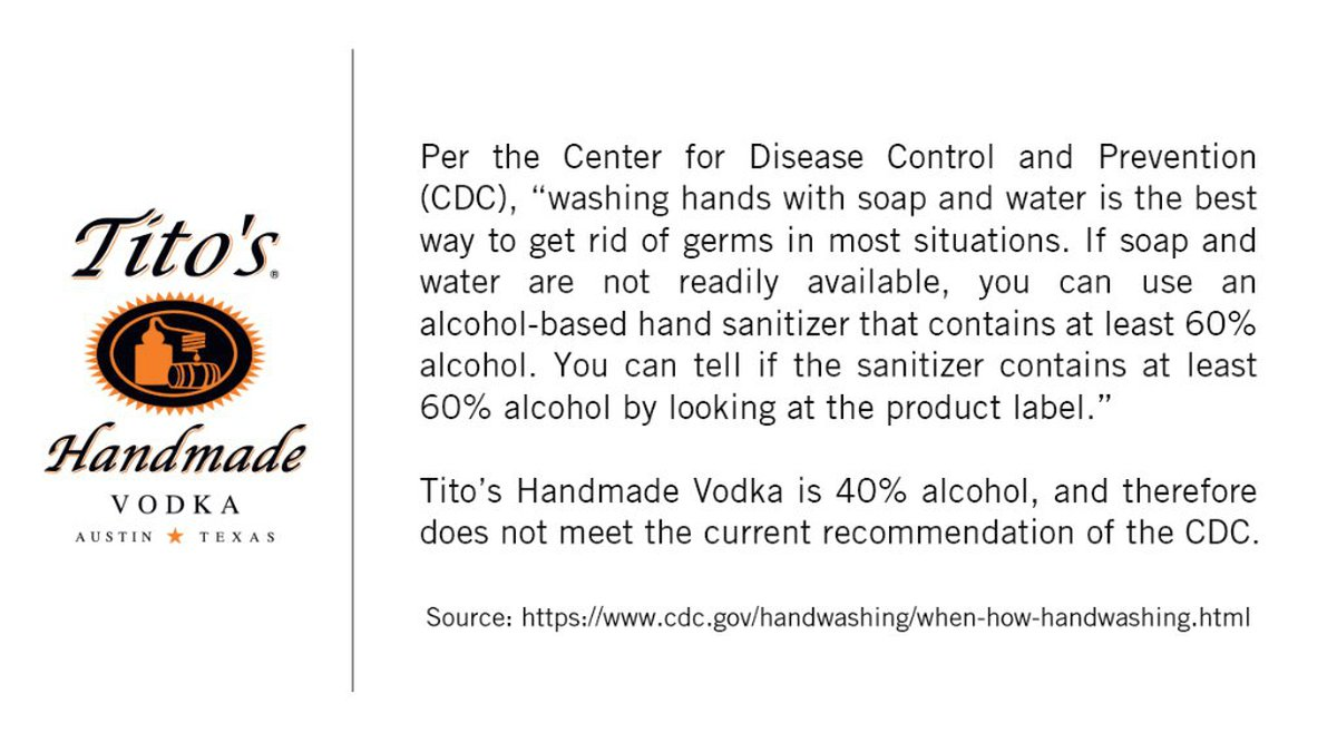 Tito's vodka warns consumers that their product is not hand sanitizer