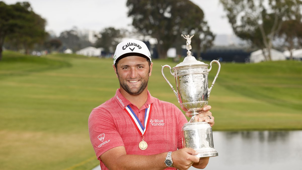 Jon Rahm poses with the trophy after winning the 2021 U.S. Open at Torrey Pines Golf Course in...