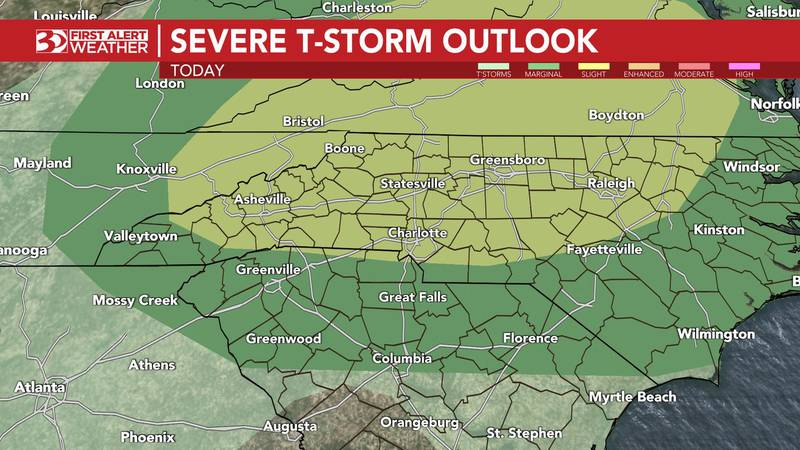 Damaging winds look to be the biggest threat, with isolated hail and a quick spin-up tornado...