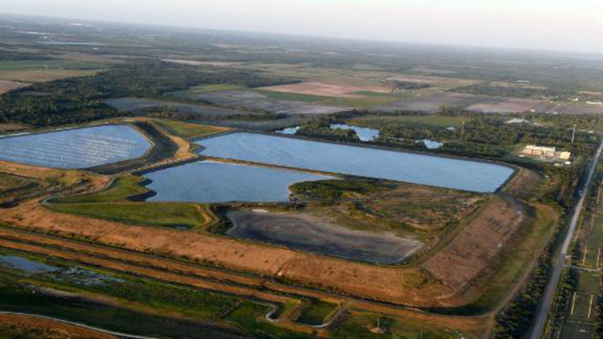 The 77-acre Piney Point reservoir is located in Manatee County, just south of the Tampa Bay area.