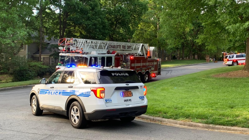 Charlotte firefighters say smoke was showing from a two-story house on Beecher Drive.