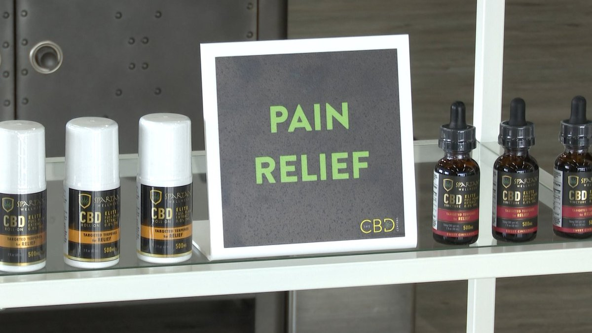 CBD products for pain relief are displayed inside The CBD Centers Thursday, Feb. 4, 2021, in...