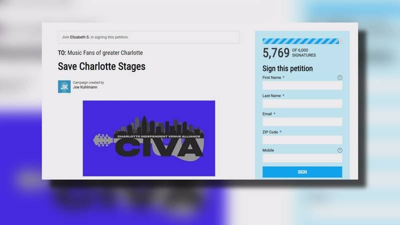 """A petition from music venue owners called """"Save Charlotte Stages,"""" has almost 6,000 signatures."""