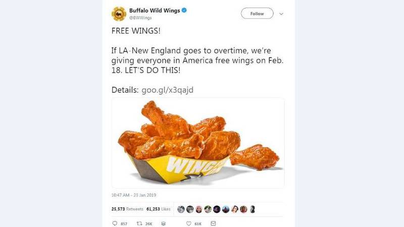 Buffalo Wild Wings is giving away free wings to everyone in America if the Los Angeles Ram and...