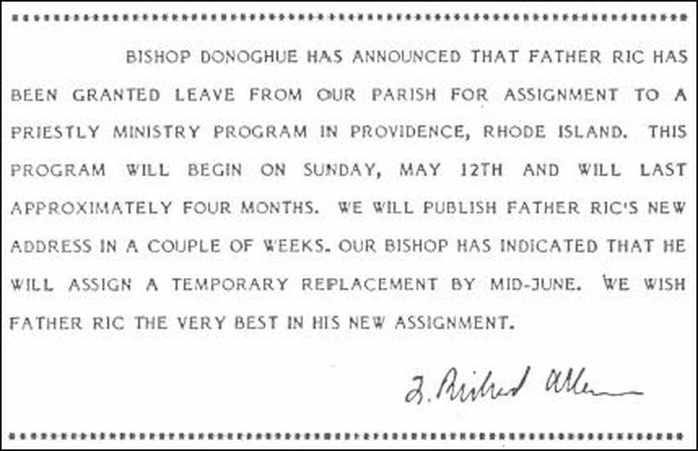Notice sent to parishioners at Fr. Ric Farwell's church went he was sent to Massachusetts for...