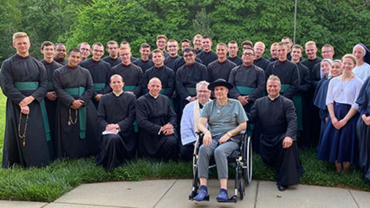 Father Kottar, 53, offered words of encouragement to 27 young men studying to become priests a...