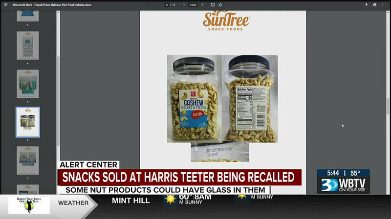 Snacks sold at Harris Teeter being recalled due to possible broken glass