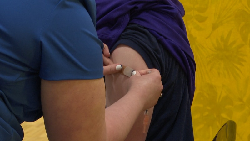 FILE — A health care professional applies a bandage on the arm of a patient who had just...