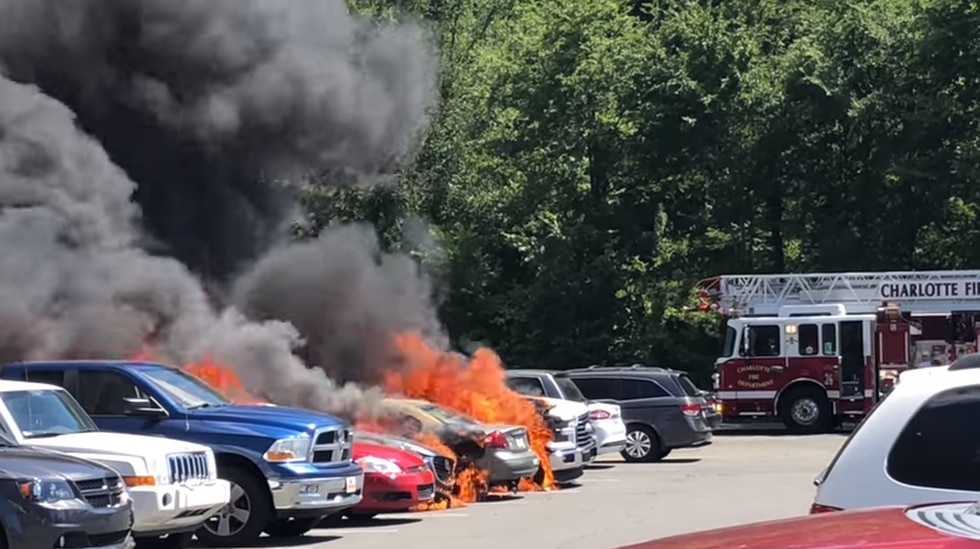 The Flint Hill Fire Chief says 11 vehicles were damaged in the blaze - most of them were...