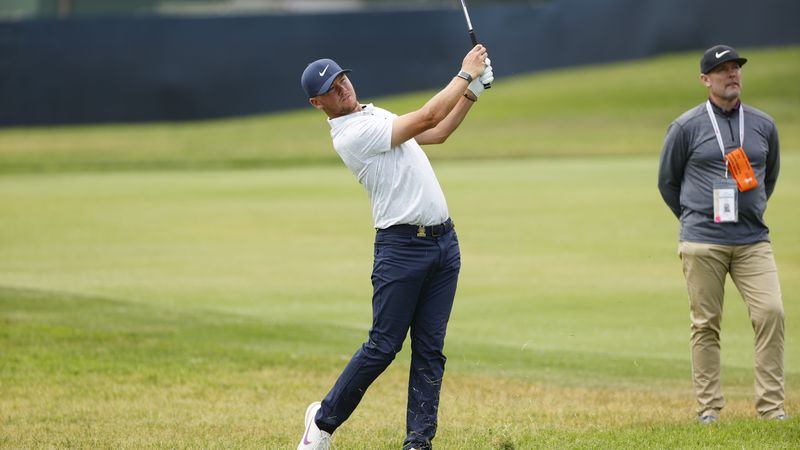 Matthew Sharpstene plays a shot on the ninth hole during a practice round at the 2021 U.S. Open...