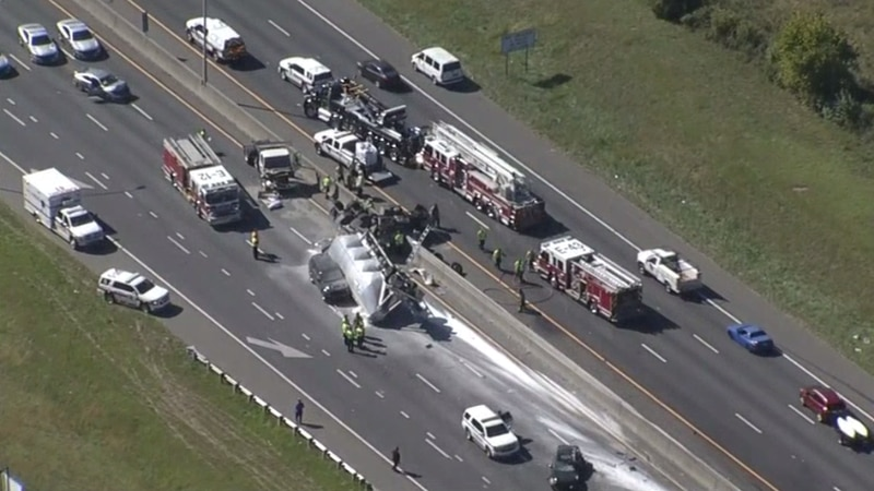 The crash happened on I-77 near Woodlawn Road just before noon.