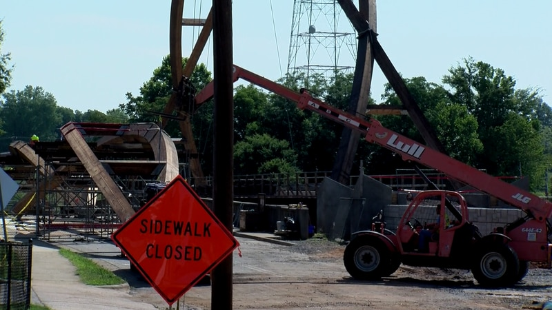 The arch will go on the Highland Avenue Bridge which Highway 127 passes under. Crews have...