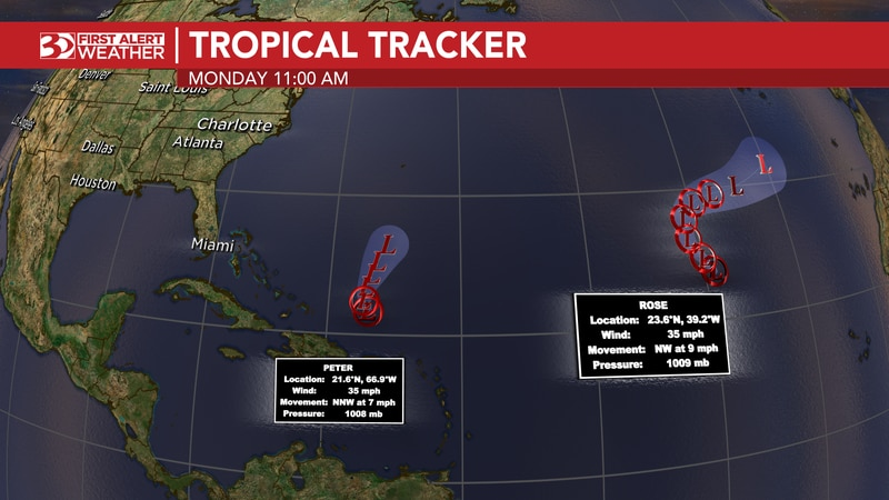 As of now, both Peter and Rose have been downgraded to tropical storms.