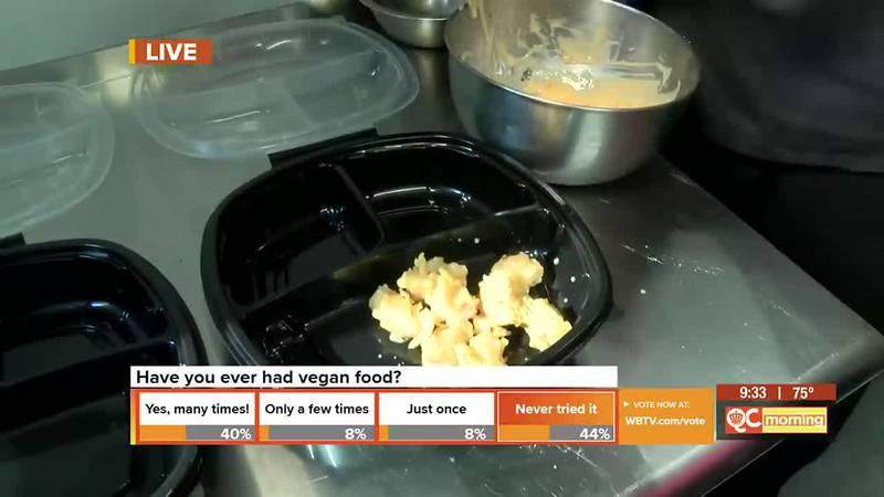Vegan shrimp being cooked to order!