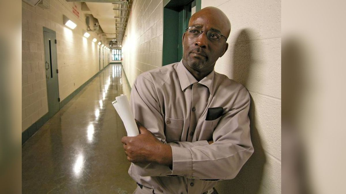 Ronnie Long stands in a hallway at the Albemarle Correctional Institution in 2017. Long was...