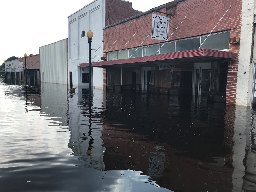 Water sits on Main Street in Fair Bluff, NC, in the wake of flooding from Hurricane Florence....