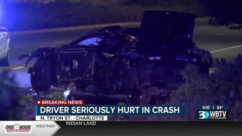 CMPD says one person is seriously hurt after a crash on N. Tryon Street Sunday morning.